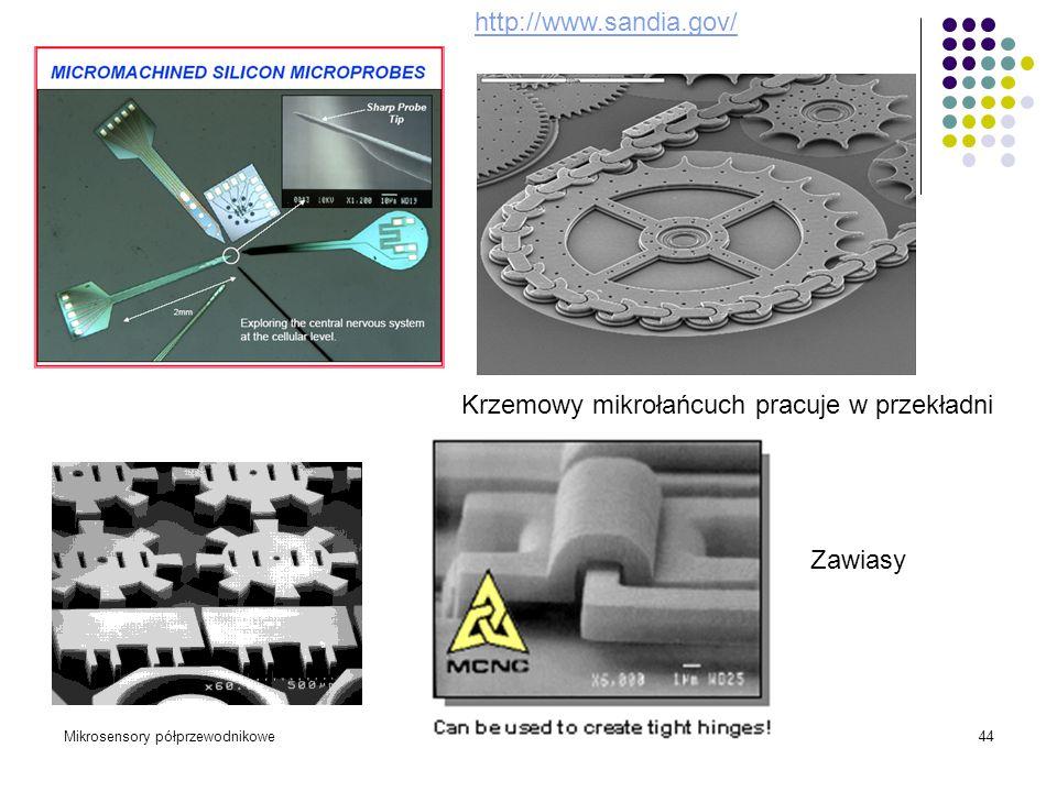 Mikrosensory półprzewodnikoweWykład 2, 2010/1144 Krzemowy mikrołańcuch pracuje w przekładni http://www.sandia.gov/ Zawiasy