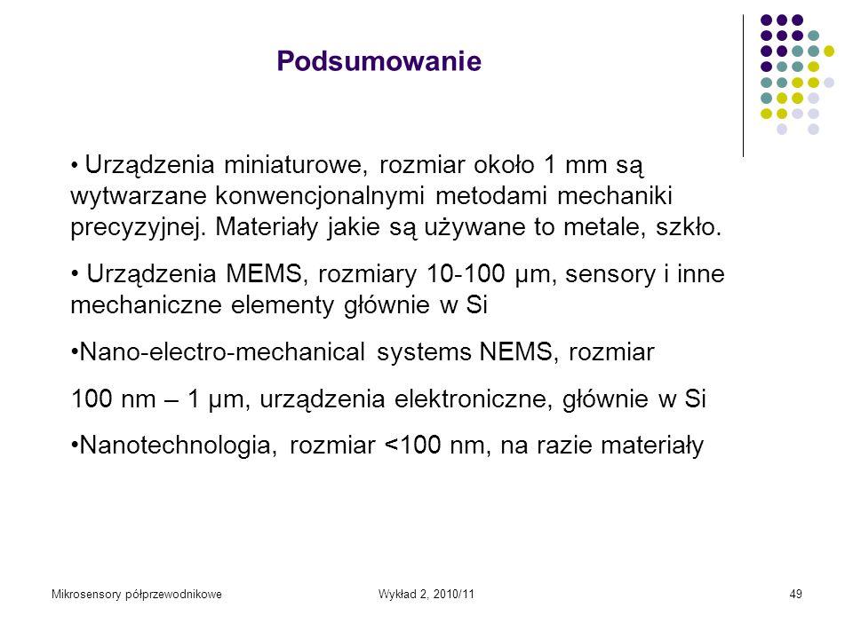 Mikrosensory półprzewodnikoweWykład 2, 2010/1149 Urządzenia miniaturowe, rozmiar około 1 mm są wytwarzane konwencjonalnymi metodami mechaniki precyzyj