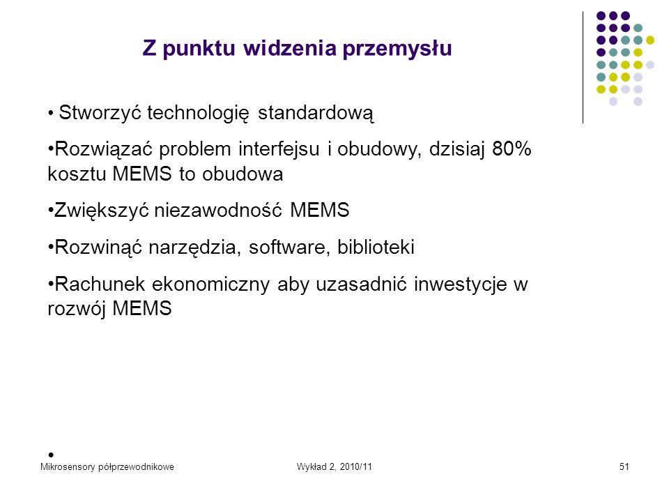 Mikrosensory półprzewodnikoweWykład 2, 2010/1151 Stworzyć technologię standardową Rozwiązać problem interfejsu i obudowy, dzisiaj 80% kosztu MEMS to o