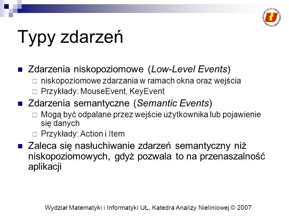 Wydział Matematyki i Informatyki UŁ, Katedra Analizy Nieliniowej © 2007 Typy zdarzeń Zdarzenia niskopoziomowe (Low-Level Events)  niskopoziomowe zdarzania w ramach okna oraz wejścia  Przykłady: MouseEvent, KeyEvent Zdarzenia semantyczne (Semantic Events)  Mogą być odpalane przez wejście użytkownika lub pojawienie się danych  Przykłady: Action i Item Zaleca się nasłuchiwanie zdarzeń semantyczny niż niskopoziomowych, gdyż pozwala to na przenaszalność aplikacji