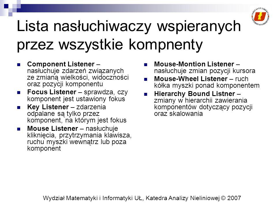 Wydział Matematyki i Informatyki UŁ, Katedra Analizy Nieliniowej © 2007 Lista nasłuchiwaczy wspieranych przez wszystkie kompnenty Component Listener – nasłuchuje zdarzeń związanych ze zmianą wielkości, widoczności oraz pozycji komponentu Focus Listener – sprawdza, czy komponent jest ustawiony fokus Key Listener – zdarzenia odpalane są tylko przez komponent, na którym jest fokus Mouse Listener – nasłuchuje kliknięcia, przytrzymania klawisza, ruchu myszki wewnątrz lub poza komponent Mouse-Montion Listener – nasłuchuje zmian pozycji kursora Mouse-Wheel Listener – ruch kółka myszki ponad komponentem Hierarchy Bound Listner – zmiany w hierarchii zawierania komponentów dotyczący pozycji oraz skalowania