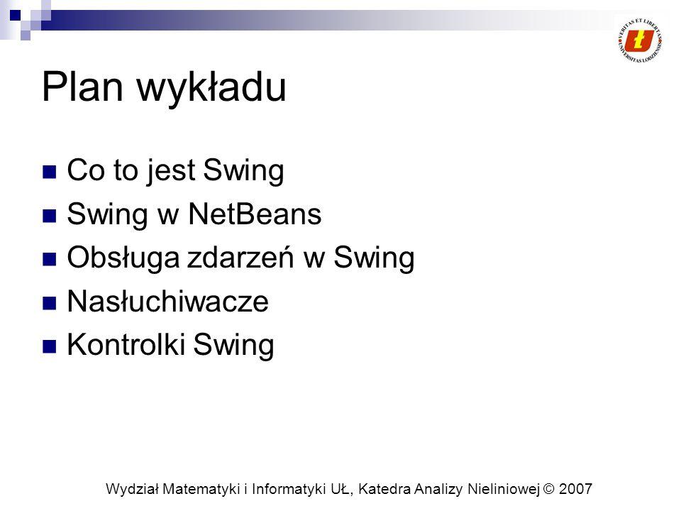 Wydział Matematyki i Informatyki UŁ, Katedra Analizy Nieliniowej © 2007 Plan wykładu Co to jest Swing Swing w NetBeans Obsługa zdarzeń w Swing Nasłuchiwacze Kontrolki Swing