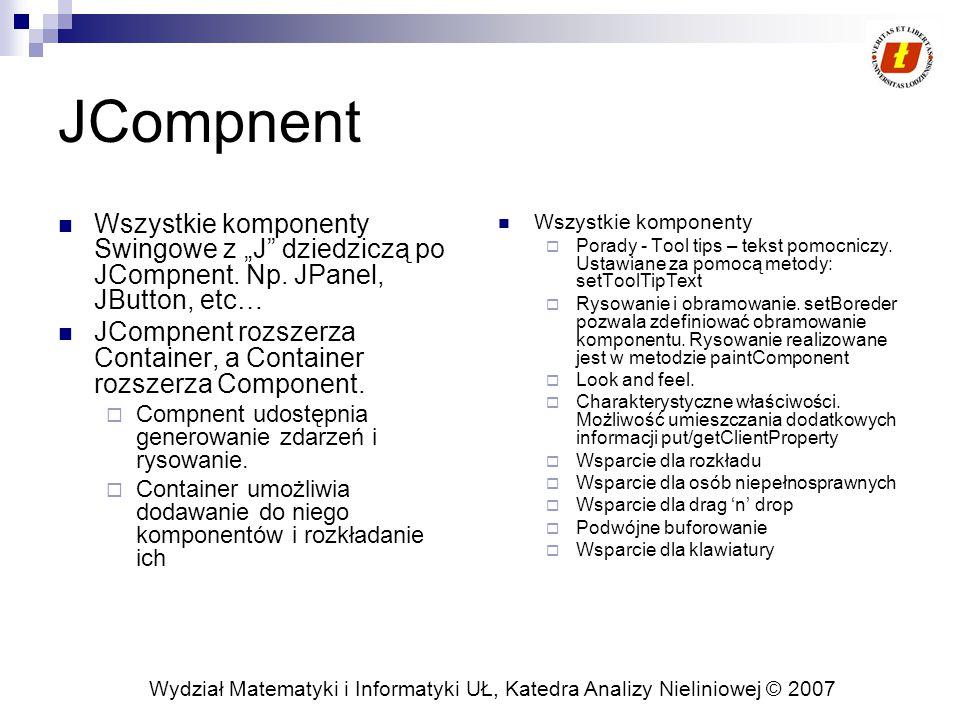 """Wydział Matematyki i Informatyki UŁ, Katedra Analizy Nieliniowej © 2007 JCompnent Wszystkie komponenty Swingowe z """"J dziedziczą po JCompnent."""