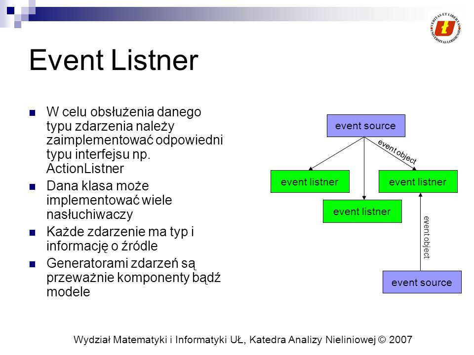 Wydział Matematyki i Informatyki UŁ, Katedra Analizy Nieliniowej © 2007 Event Listner W celu obsłużenia danego typu zdarzenia należy zaimplementować odpowiedni typu interfejsu np.