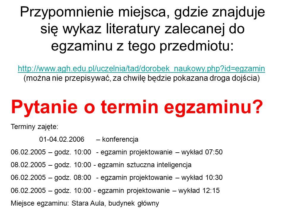 Przypomnienie miejsca, gdzie znajduje się wykaz literatury zalecanej do egzaminu z tego przedmiotu: http://www.agh.edu.pl/uczelnia/tad/dorobek_naukowy.php id=egzamin (można nie przepisywać, za chwilę będzie pokazana droga dojścia) Pytanie o termin egzaminu.