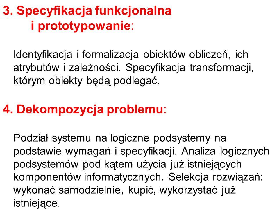 3. Specyfikacja funkcjonalna i prototypowanie: Identyfikacja i formalizacja obiektów obliczeń, ich atrybutów i zależności. Specyfikacja transformacji,