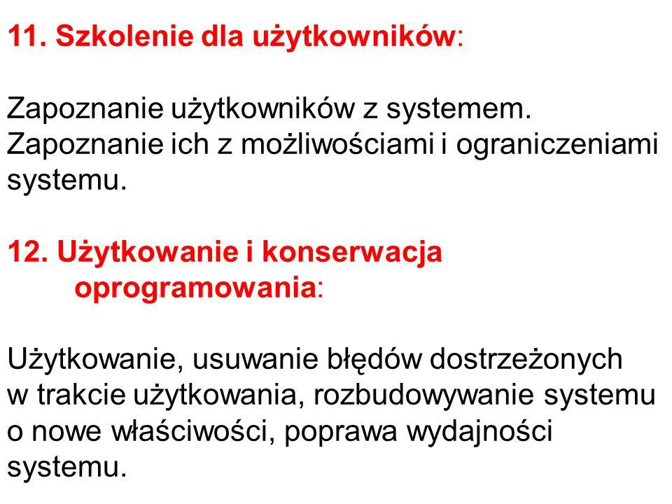 11. Szkolenie dla użytkowników: Zapoznanie użytkowników z systemem.