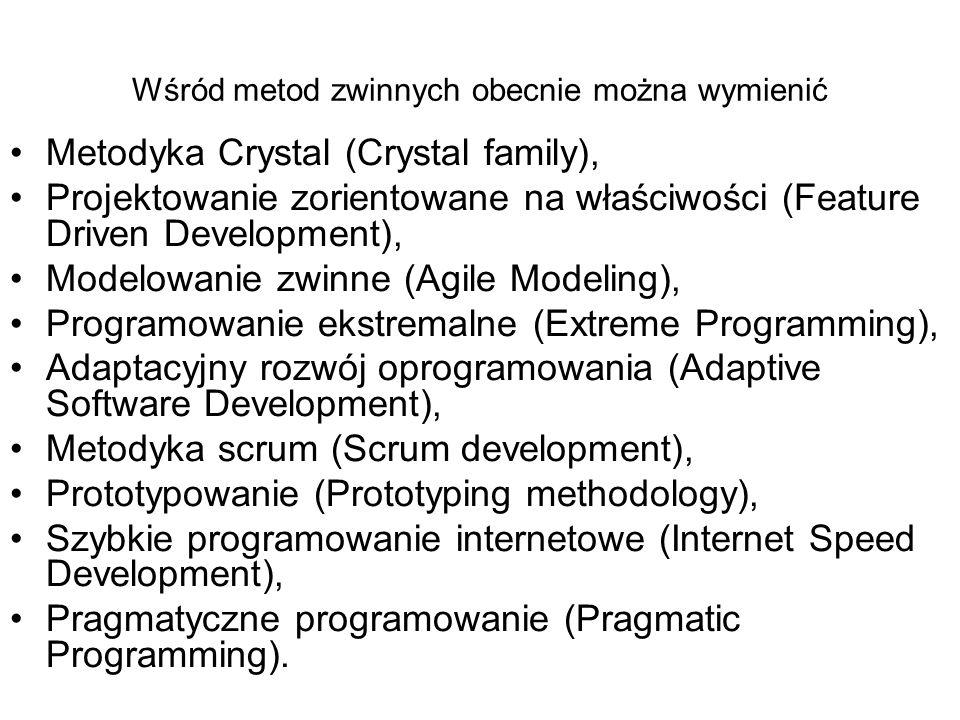 Wśród metod zwinnych obecnie można wymienić Metodyka Crystal (Crystal family), Projektowanie zorientowane na właściwości (Feature Driven Development), Modelowanie zwinne (Agile Modeling), Programowanie ekstremalne (Extreme Programming), Adaptacyjny rozwój oprogramowania (Adaptive Software Development), Metodyka scrum (Scrum development), Prototypowanie (Prototyping methodology), Szybkie programowanie internetowe (Internet Speed Development), Pragmatyczne programowanie (Pragmatic Programming).