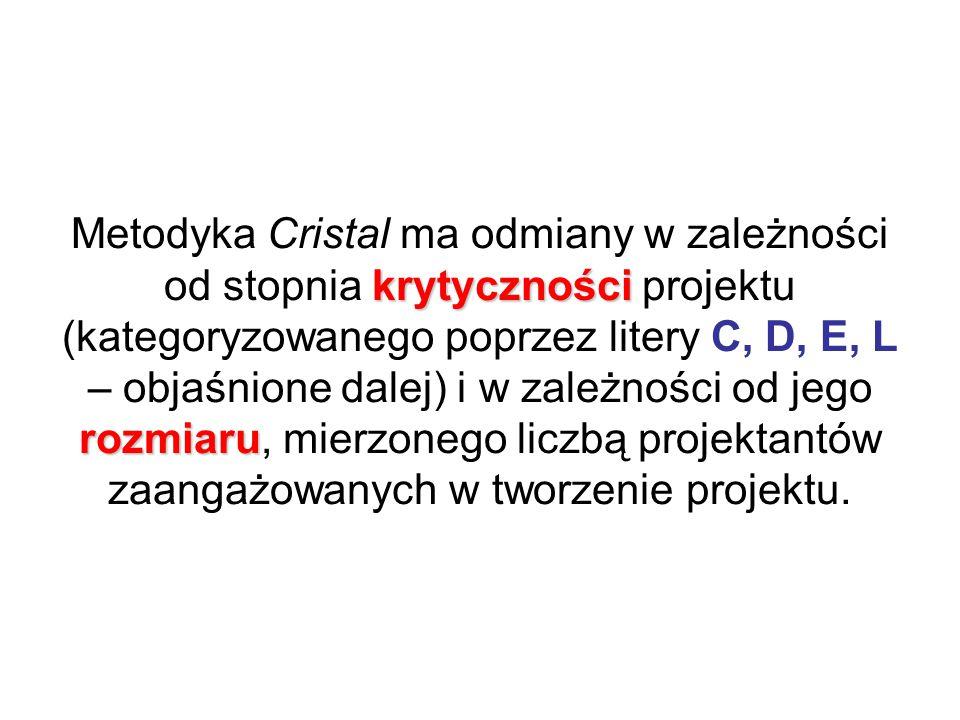 krytyczności rozmiaru Metodyka Cristal ma odmiany w zależności od stopnia krytyczności projektu (kategoryzowanego poprzez litery C, D, E, L – objaśnione dalej) i w zależności od jego rozmiaru, mierzonego liczbą projektantów zaangażowanych w tworzenie projektu.
