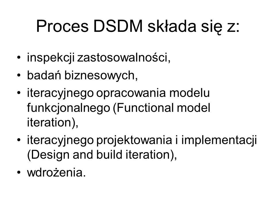 Proces DSDM składa się z: inspekcji zastosowalności, badań biznesowych, iteracyjnego opracowania modelu funkcjonalnego (Functional model iteration), iteracyjnego projektowania i implementacji (Design and build iteration), wdrożenia.