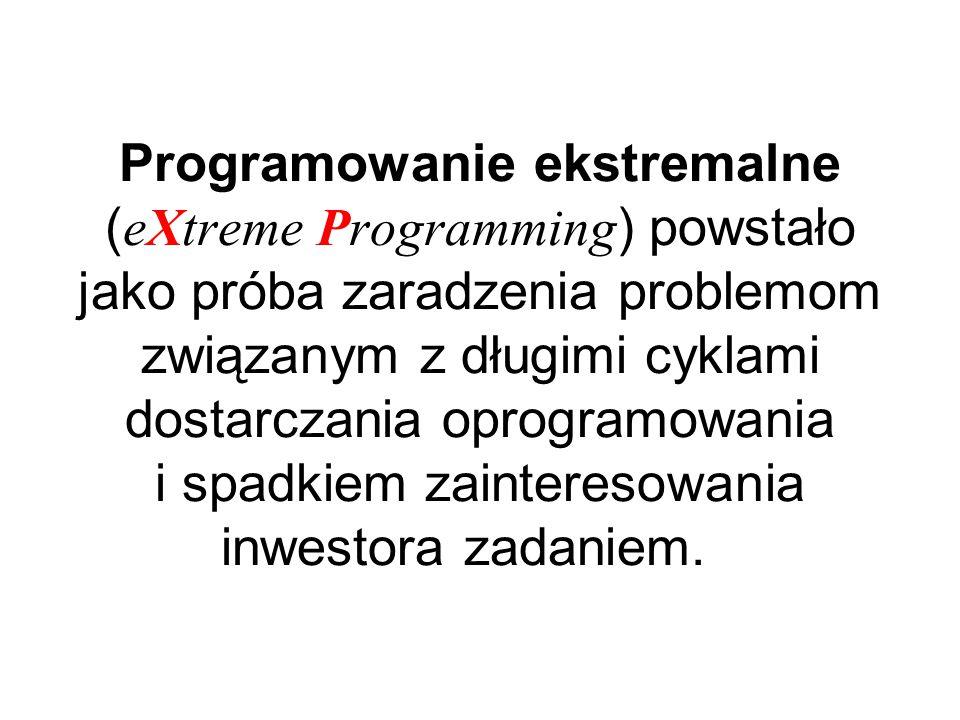 Programowanie ekstremalne ( eXtreme Programming ) powstało jako próba zaradzenia problemom związanym z długimi cyklami dostarczania oprogramowania i spadkiem zainteresowania inwestora zadaniem.