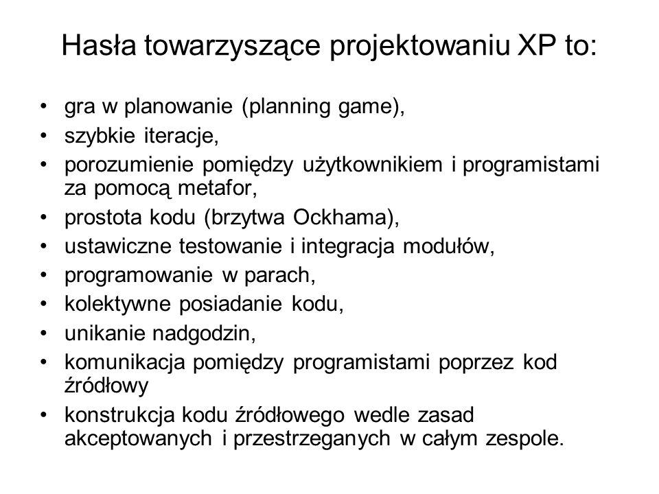 Hasła towarzyszące projektowaniu XP to: gra w planowanie (planning game), szybkie iteracje, porozumienie pomiędzy użytkownikiem i programistami za pomocą metafor, prostota kodu (brzytwa Ockhama), ustawiczne testowanie i integracja modułów, programowanie w parach, kolektywne posiadanie kodu, unikanie nadgodzin, komunikacja pomiędzy programistami poprzez kod źródłowy konstrukcja kodu źródłowego wedle zasad akceptowanych i przestrzeganych w całym zespole.