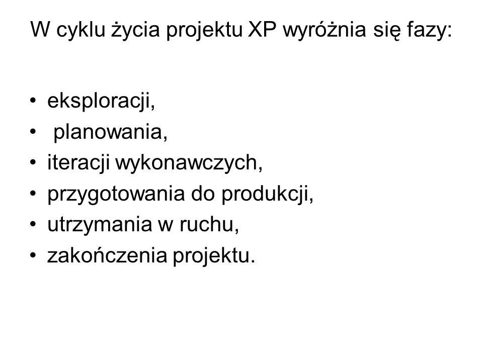 W cyklu życia projektu XP wyróżnia się fazy: eksploracji, planowania, iteracji wykonawczych, przygotowania do produkcji, utrzymania w ruchu, zakończenia projektu.