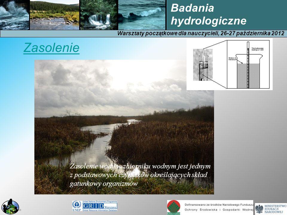 Warsztaty początkowe dla nauczycieli, 26-27 października 2012 Badania hydrologiczne Zasolenie wody w zbiorniku wodnym jest jednym z podstawowych czynników określających skład gatunkowy organizmów Zasolenie
