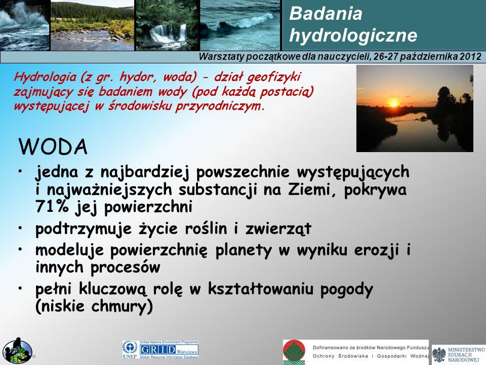 Warsztaty początkowe dla nauczycieli, 26-27 października 2012 Badania hydrologiczne Cykl hydrologiczny Nieprzerwany obieg wody między powierzchnią ziemi a jej atmosferą 10 3 km 3