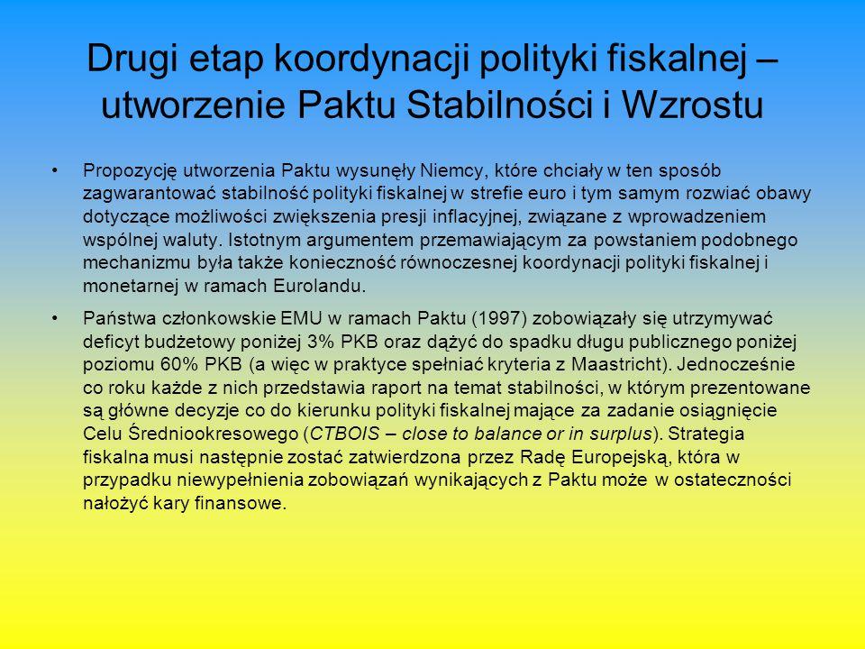 Drugi etap koordynacji polityki fiskalnej – utworzenie Paktu Stabilności i Wzrostu Propozycję utworzenia Paktu wysunęły Niemcy, które chciały w ten sp
