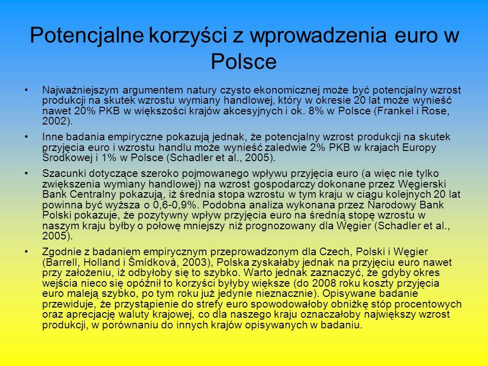 Potencjalne korzyści z wprowadzenia euro w Polsce Najważniejszym argumentem natury czysto ekonomicznej może być potencjalny wzrost produkcji na skutek