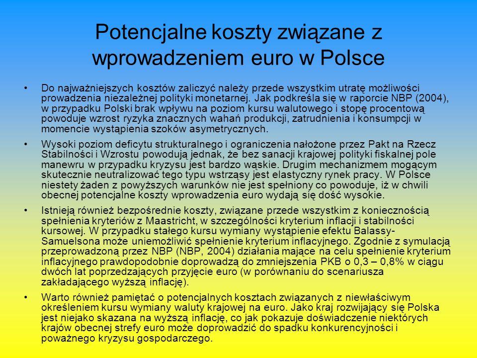Potencjalne koszty związane z wprowadzeniem euro w Polsce Do najważniejszych kosztów zaliczyć należy przede wszystkim utratę możliwości prowadzenia ni