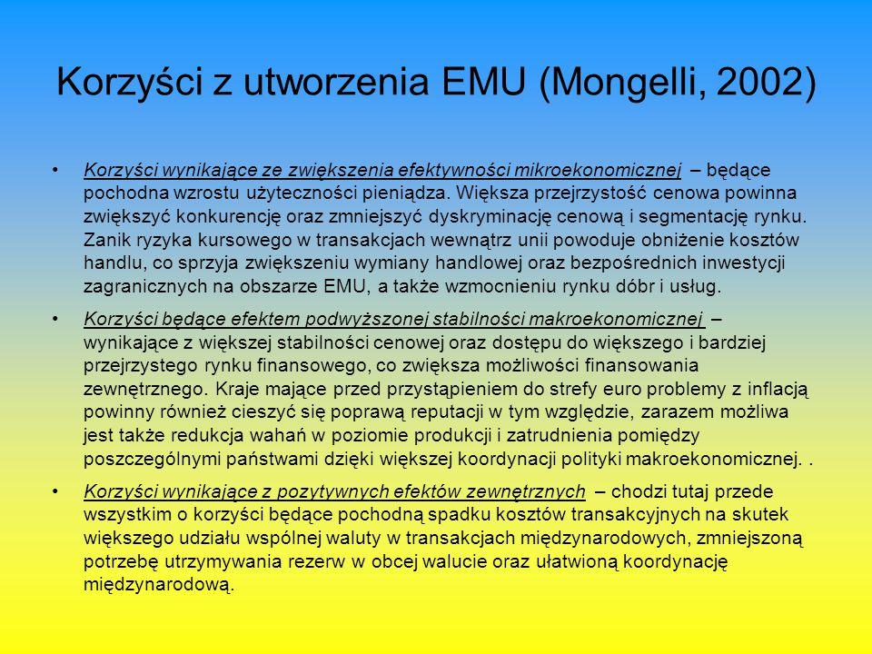 Korzyści związane z utworzeniem EMU (Mongelli, 2002) Koszty wynikające z pogorszenia efektywności mikroekonomicznej – zmiana waluty powoduje powstanie kosztów związanych z koniecznością denominacji kontraktów oraz adaptacją maszyn służących do dokonywania transakcji.