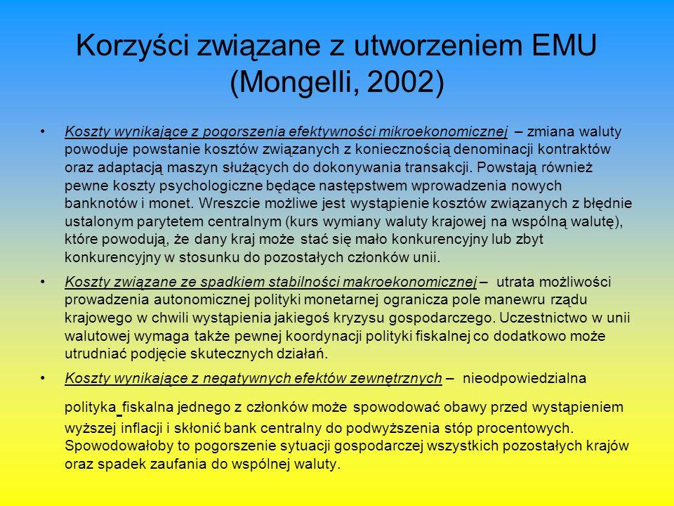 Korzyści związane z utworzeniem EMU (Mongelli, 2002) Koszty wynikające z pogorszenia efektywności mikroekonomicznej – zmiana waluty powoduje powstani