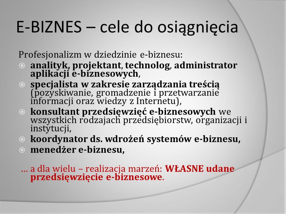 E-BIZNES – cele do osiągnięcia Profesjonalizm w dziedzinie e-biznesu:  analityk, projektant, technolog, administrator aplikacji e-biznesowych,  spec