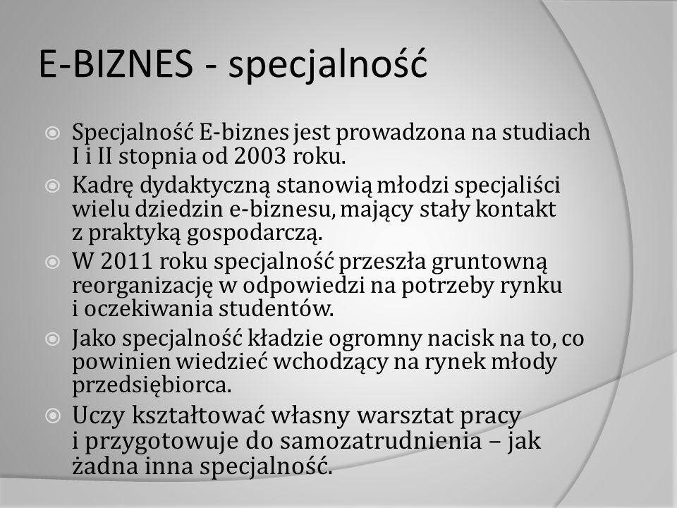 E-BIZNES - specjalność  Specjalność E-biznes jest prowadzona na studiach I i II stopnia od 2003 roku.  Kadrę dydaktyczną stanowią młodzi specjaliści