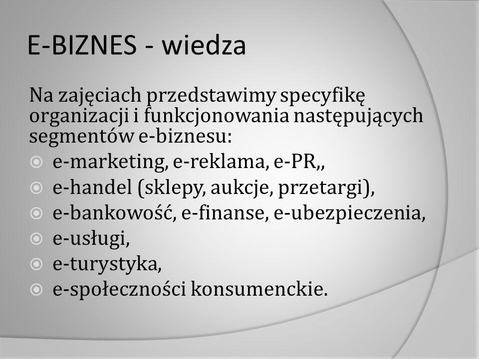 E-BIZNES - wiedza Na zajęciach przedstawimy specyfikę organizacji i funkcjonowania następujących segmentów e-biznesu:  e-marketing, e-reklama, e-PR,,  e-handel (sklepy, aukcje, przetargi),  e-bankowość, e-finanse, e-ubezpieczenia,  e-usługi,  e-turystyka,  e-społeczności konsumenckie.