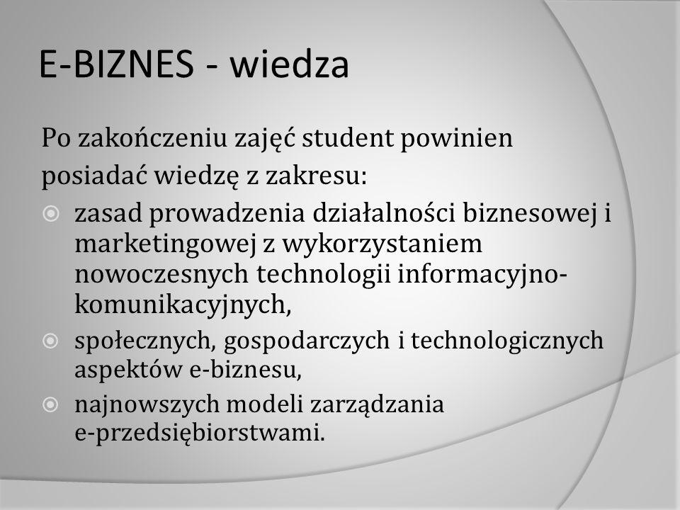 E-BIZNES - wiedza Po zakończeniu zajęć student powinien posiadać wiedzę z zakresu:  zasad prowadzenia działalności biznesowej i marketingowej z wykor