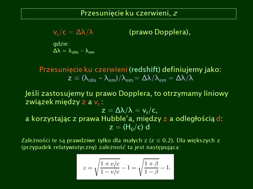 Przesunięcie ku czerwieni, z v r /c = Δλ/λ(prawo Dopplera), gdzie: Δλ = λ obs - λ em Przesunięcie ku czerwieni (redshift) definiujemy jako: z ≡ (λ obs