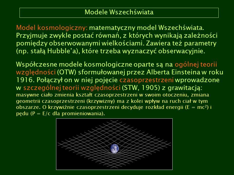 Modele Wszechświata Model kosmologiczny: matematyczny model Wszechświata. Przyjmuje zwykle postać równań, z których wynikają zależności pomiędzy obser