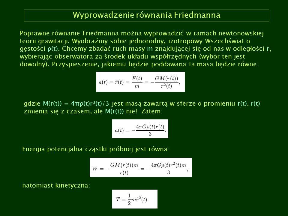Wyprowadzenie równania Friedmanna Poprawne równanie Friedmanna można wyprowadzić w ramach newtonowskiej teorii grawitacji. Wyobraźmy sobie jednorodny,