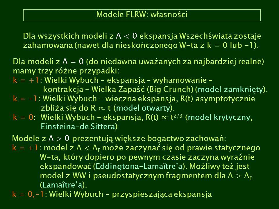 Modele FLRW: własności Dla wszystkich modeli z Λ < 0 ekspansja Wszechświata zostaje zahamowana (nawet dla nieskończonego W-ta z k = 0 lub -1). Dla mod