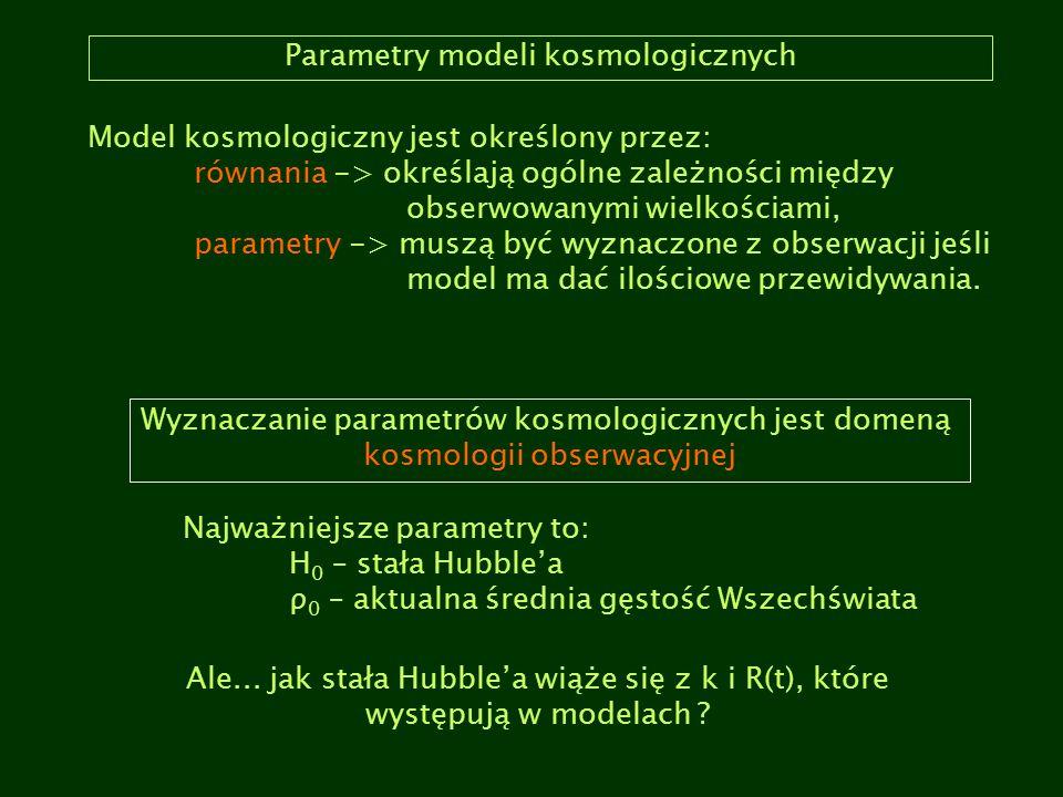 Parametry modeli kosmologicznych Model kosmologiczny jest określony przez: równania -> określają ogólne zależności między obserwowanymi wielkościami,