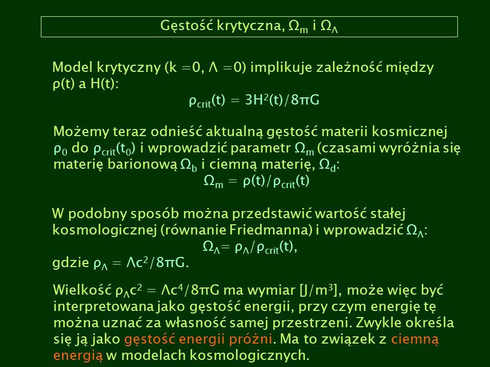 Gęstość krytyczna, Ω m i Ω Λ Model krytyczny (k =0, Λ =0) implikuje zależność między ρ(t) a H(t): ρ crit (t) = 3H 2 (t)/8πG Możemy teraz odnieść aktua
