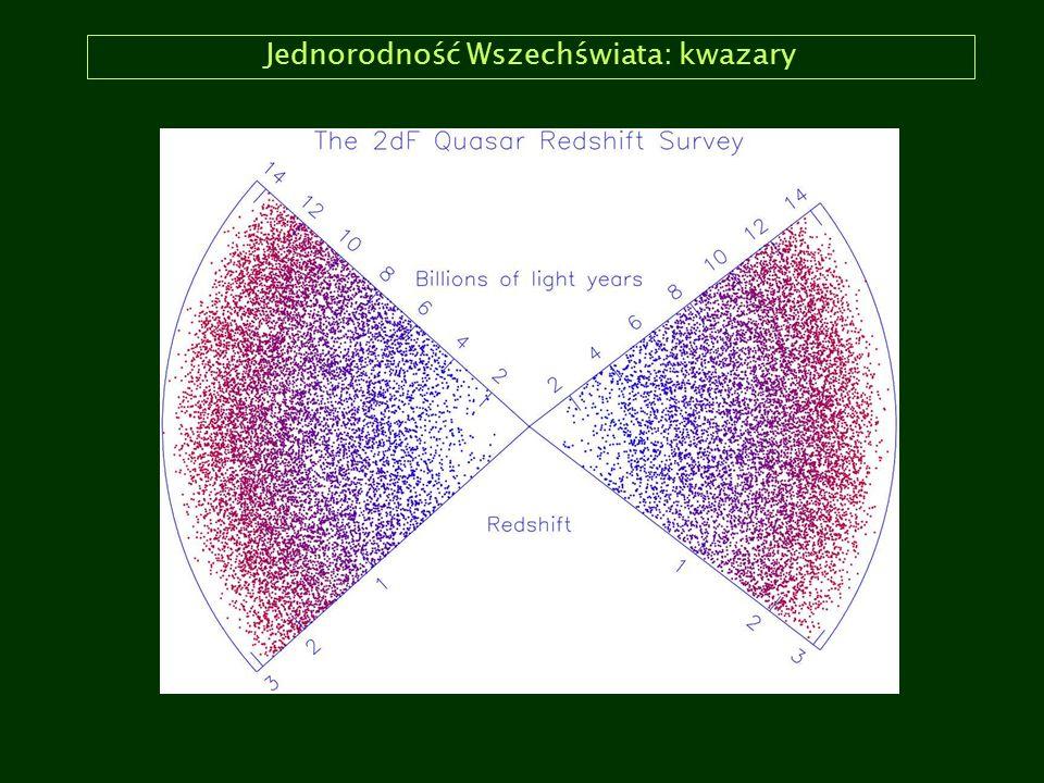 Gęstość krytyczna, Ω m i Ω Λ Model krytyczny (k =0, Λ =0) implikuje zależność między ρ(t) a H(t): ρ crit (t) = 3H 2 (t)/8πG Możemy teraz odnieść aktualną gęstość materii kosmicznej ρ 0 do ρ crit (t 0 ) i wprowadzić parametr Ω m (czasami wyróżnia się materię barionową Ω b i ciemną materię, Ω d : Ω m = ρ(t)/ρ crit (t) W podobny sposób można przedstawić wartość stałej kosmologicznej (równanie Friedmanna) i wprowadzić Ω Λ : Ω Λ = ρ Λ /ρ crit (t), gdzie ρ Λ = Λc 2 /8πG.