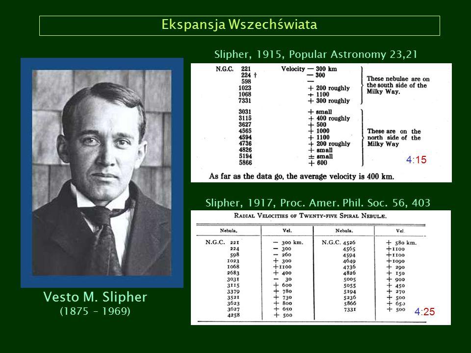Ekspansja Wszechświata Slipher (1917) Było to 8 lat przed rozdzieleniem M31 na gwiazdy przez Hubble'a i stwierdzeniem, że jest to obiekt pozagalaktyczny.