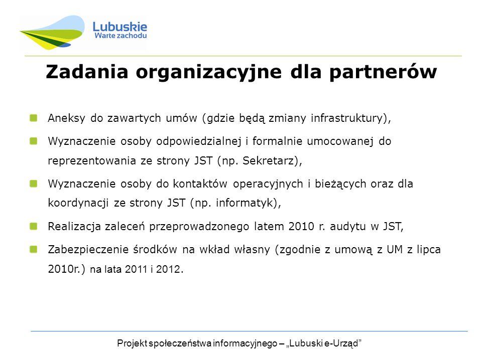 """Projekt społeczeństwa informacyjnego – """"Lubuski e-Urząd Zadania organizacyjne dla partnerów Aneksy do zawartych umów (gdzie będą zmiany infrastruktury), Wyznaczenie osoby odpowiedzialnej i formalnie umocowanej do reprezentowania ze strony JST (np."""