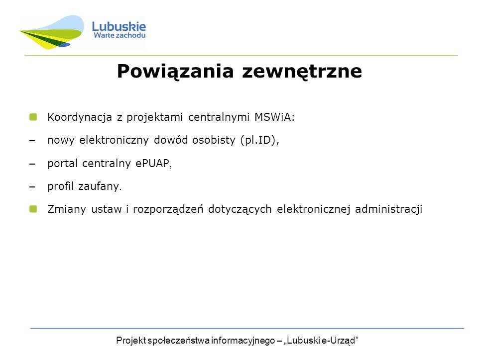 """Projekt społeczeństwa informacyjnego – """"Lubuski e-Urząd Powiązania zewnętrzne Koordynacja z projektami centralnymi MSWiA: – nowy elektroniczny dowód osobisty (pl.ID), – portal centralny ePUAP, – profil zaufany."""