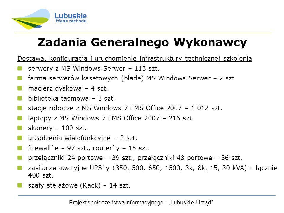 """Projekt społeczeństwa informacyjnego – """"Lubuski e-Urząd Zadania Generalnego Wykonawcy Dostawa, konfiguracja i uruchomienie infrastruktury technicznej szkolenia serwery z MS Windows Serwer – 113 szt."""