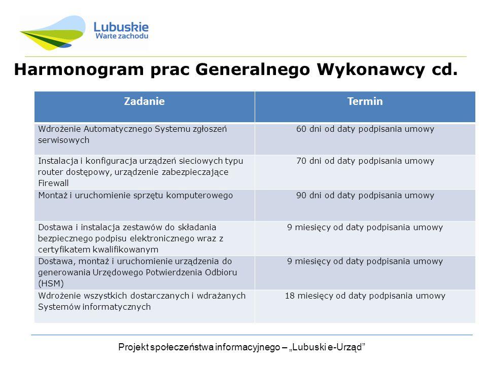 """Projekt społeczeństwa informacyjnego – """"Lubuski e-Urząd Harmonogram prac Generalnego Wykonawcy cd."""