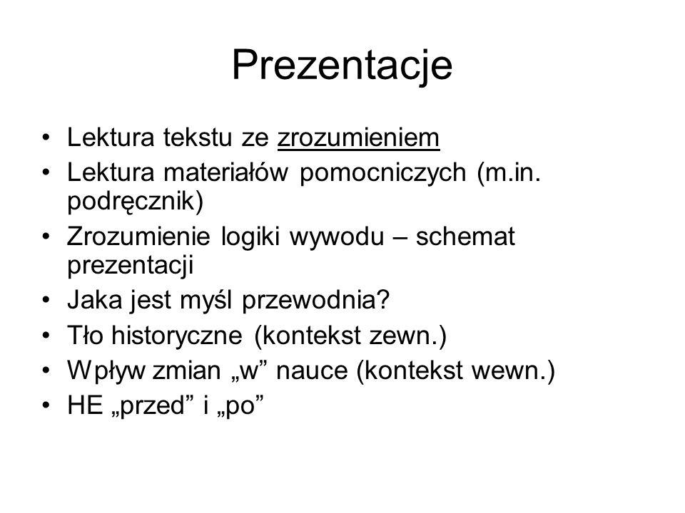 Prezentacje Lektura tekstu ze zrozumieniem Lektura materiałów pomocniczych (m.in.