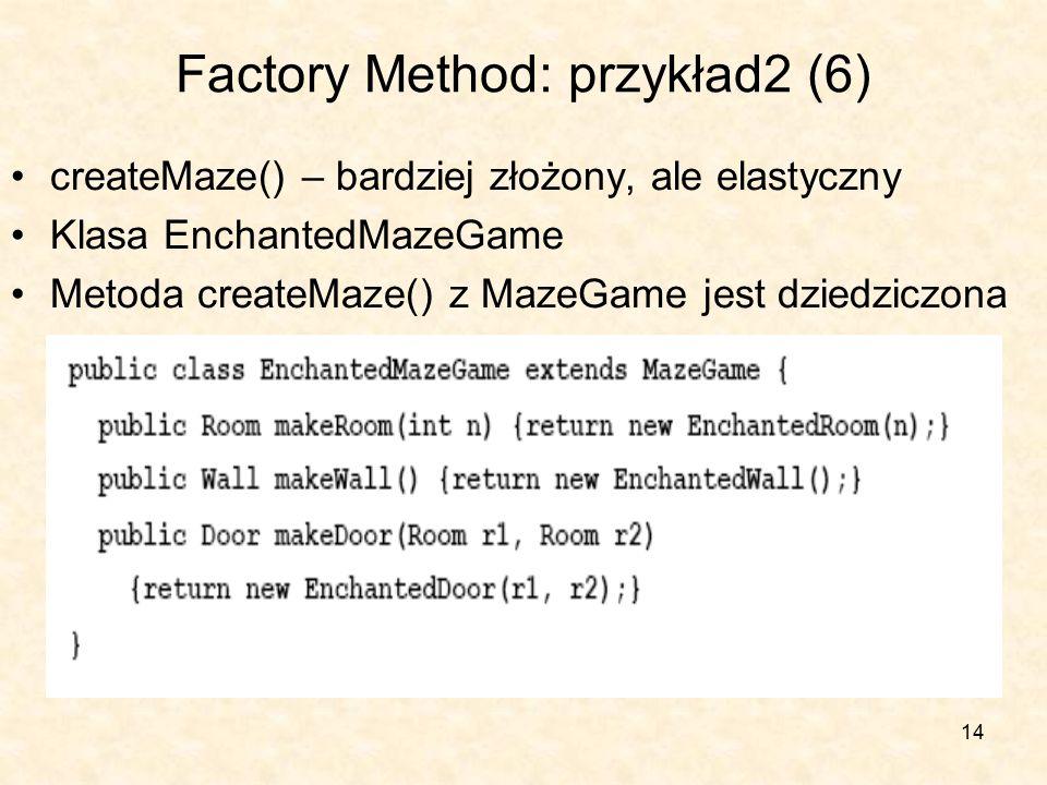 14 Factory Method: przykład2 (6) createMaze() – bardziej złożony, ale elastyczny Klasa EnchantedMazeGame Metoda createMaze() z MazeGame jest dziedziczona