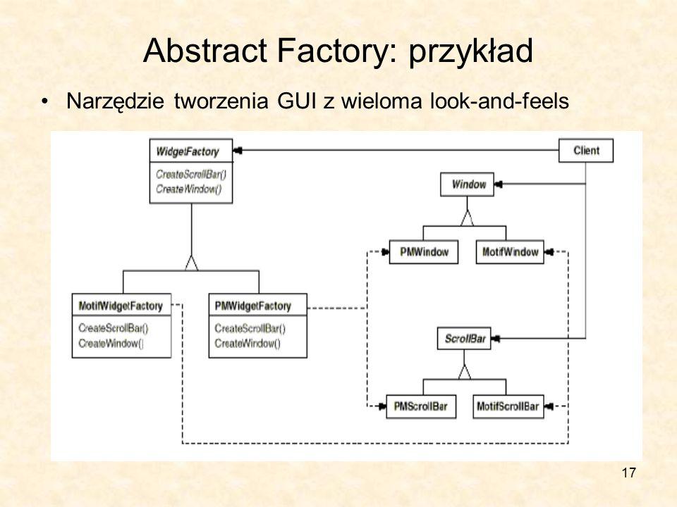 17 Abstract Factory: przykład Narzędzie tworzenia GUI z wieloma look-and-feels
