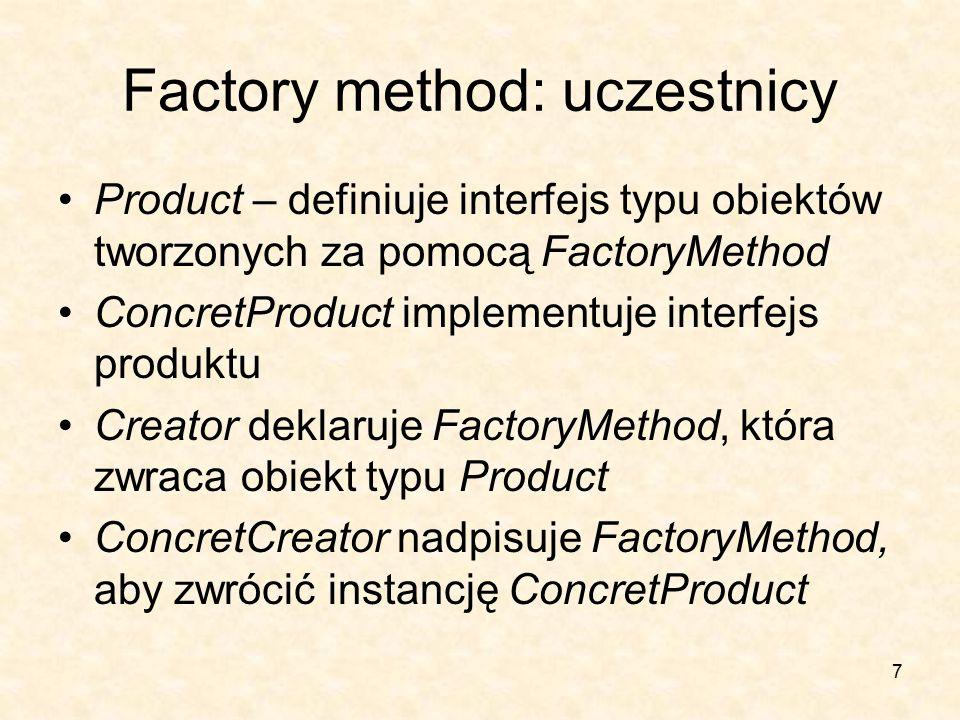 7 Factory method: uczestnicy Product – definiuje interfejs typu obiektów tworzonych za pomocą FactoryMethod ConcretProduct implementuje interfejs produktu Creator deklaruje FactoryMethod, która zwraca obiekt typu Product ConcretCreator nadpisuje FactoryMethod, aby zwrócić instancję ConcretProduct