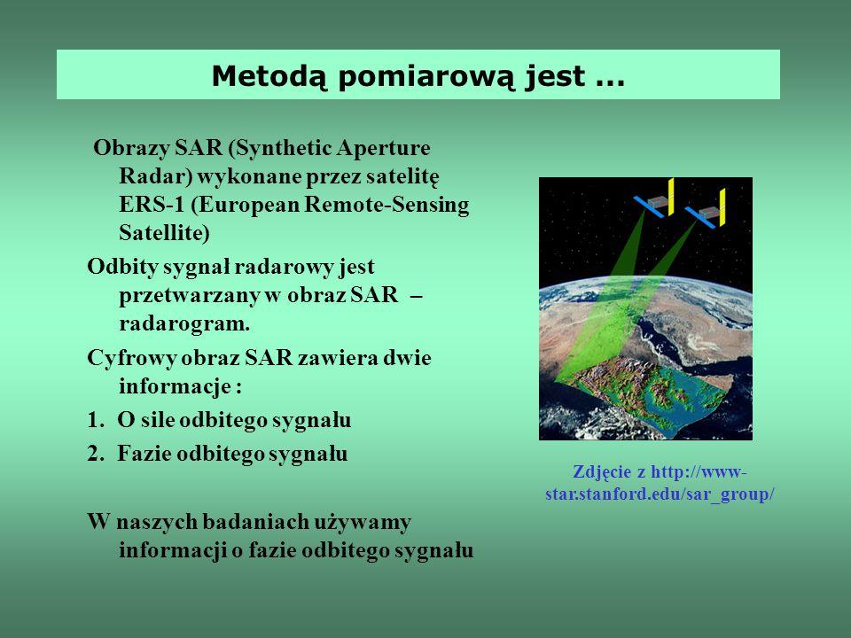 Obrazy SAR (Synthetic Aperture Radar) wykonane przez satelitę ERS-1 (European Remote-Sensing Satellite) Odbity sygnał radarowy jest przetwarzany w obr