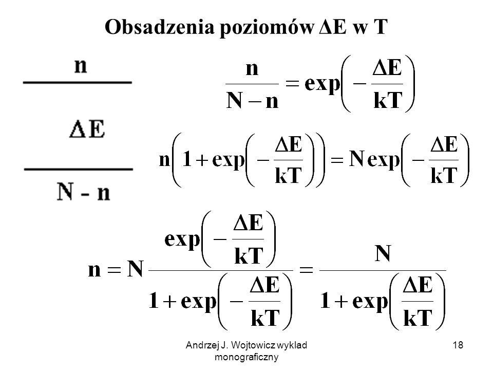 Andrzej J. Wojtowicz wyklad monograficzny 18 Obsadzenia poziomów ΔE w T