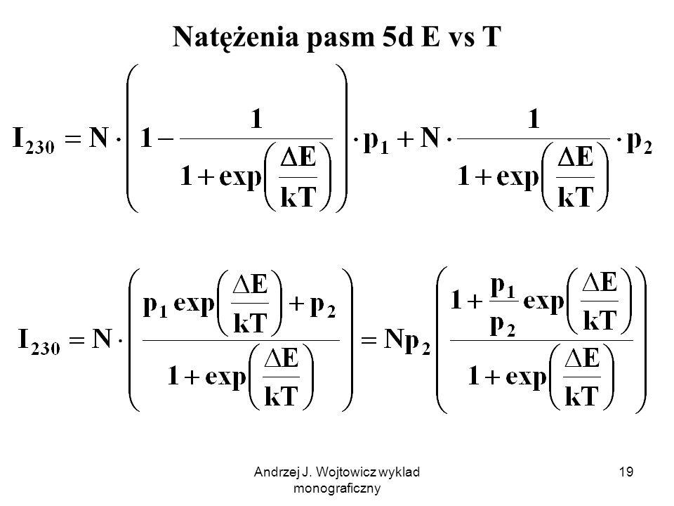 Andrzej J. Wojtowicz wyklad monograficzny 19 Natężenia pasm 5d E vs T
