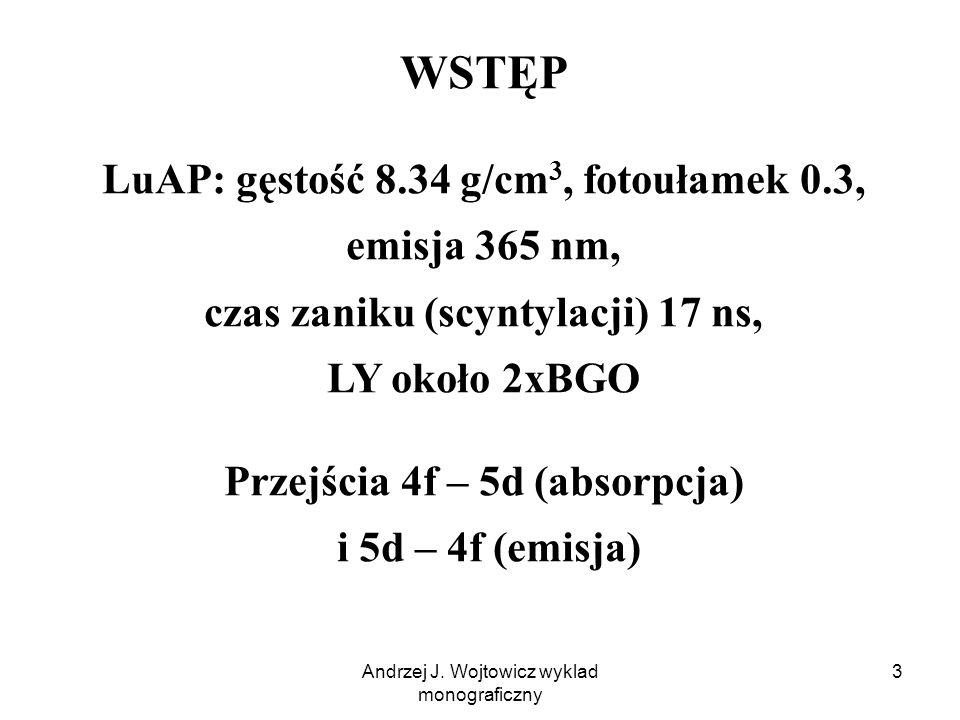 Andrzej J. Wojtowicz wyklad monograficzny 14 Skorygowane widma wzbudzenia vs T