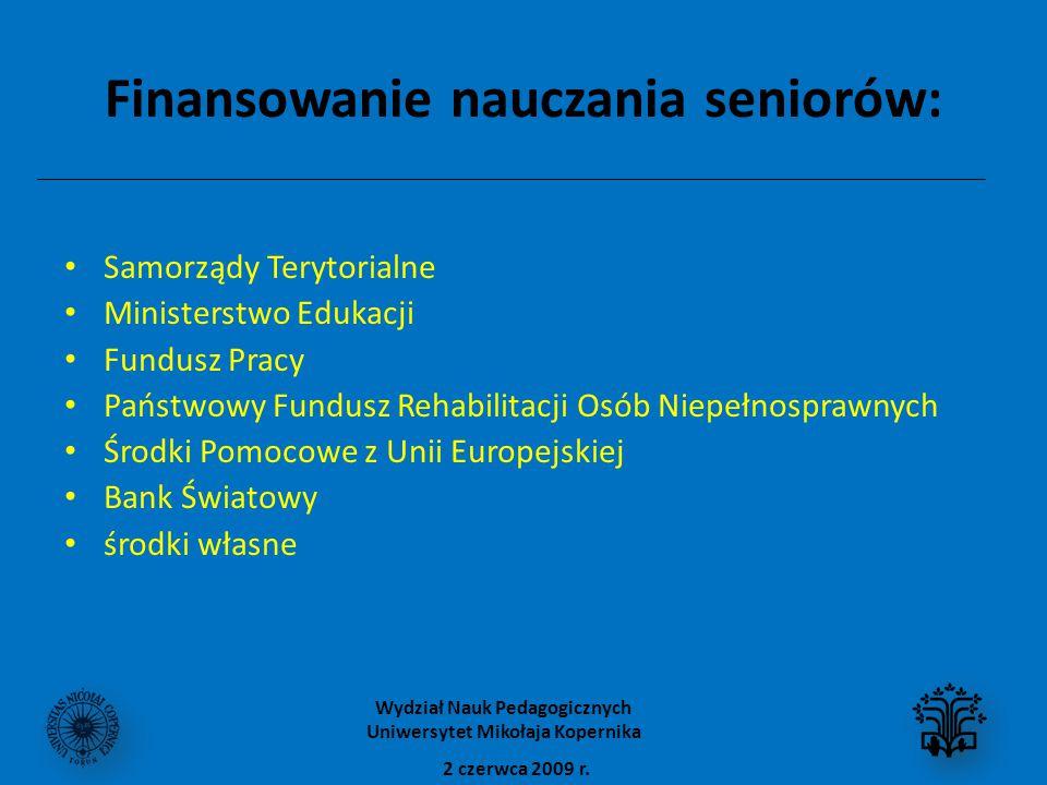 Finansowanie nauczania seniorów: Samorządy Terytorialne Ministerstwo Edukacji Fundusz Pracy Państwowy Fundusz Rehabilitacji Osób Niepełnosprawnych Środki Pomocowe z Unii Europejskiej Bank Światowy środki własne 2 czerwca 2009 r.