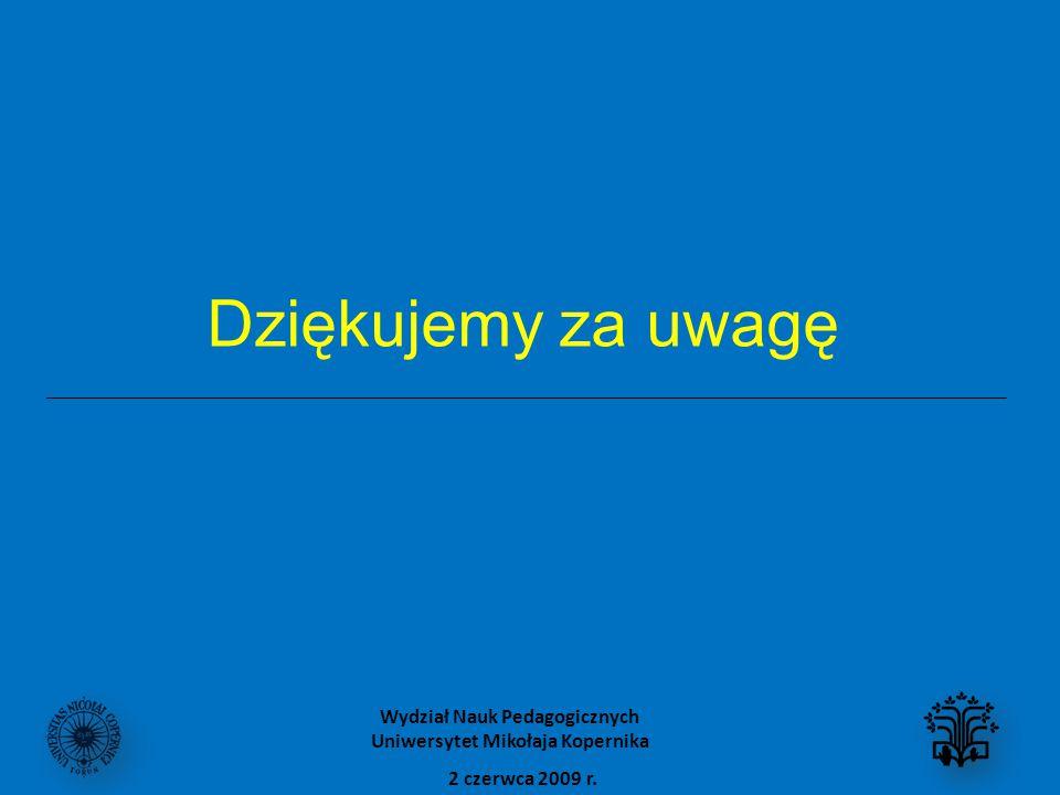 Dziękujemy za uwagę 2 czerwca 2009 r. Wydział Nauk Pedagogicznych Uniwersytet Mikołaja Kopernika